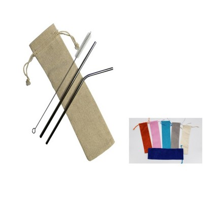 2 silver Stainless Steel Straw With 1 Cleaning Brush with a linen pouch