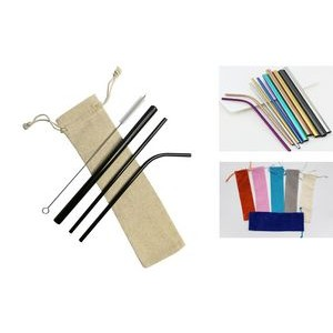 4 pieces set colorful Stainless Steel Straw With Cleaning Brush